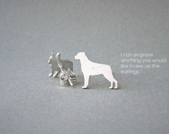 ROTTWEILER NAME Earring - Rottweiler Name Earrings - Personalised Earrings - Dog Breed Earrings - Dog Earring