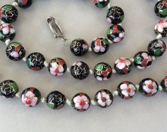 New Price* Black Red and Pink Cloisonné Necklace