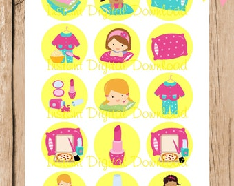 Slumber Party / Sleepover. 1 Inch bottlecap images.  4 x 6 inches Digital File. Instant Download.
