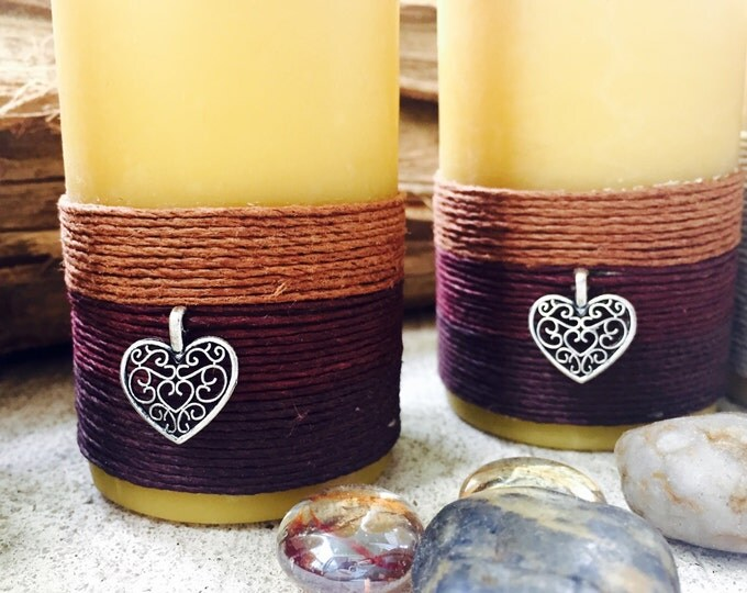 100% Pure Organic Beeswax Pillar Candle wrapped w/natural hemp cord & a Honeybee or Heart charm
