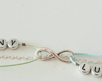 Infinity bracelet - Postage offered - home in 48-72H 7 letters Maximum by first names