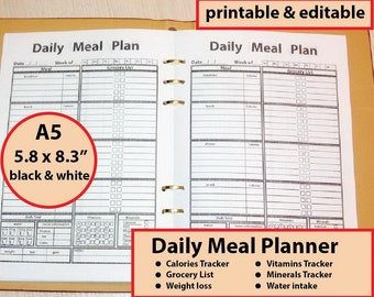 A5 Meal Planner Printable, A5 Calorie Tracker Fillable, Grocery List, Water Tracker, Food Planner, A5 Planner inserts - Instant Download