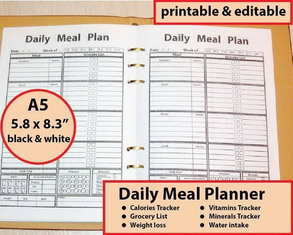 A5 Meal Planner Printable A5 Calorie Tracker Fillable