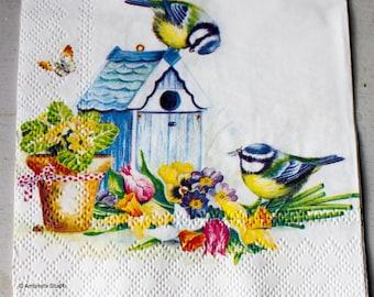Decoupage napkin Paper napkin floral flower bird birds bird house scrapbooking paper napkins craft decoupage napkins