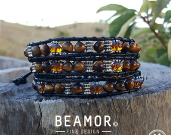 Tiger Eye Gold triple leather wrap