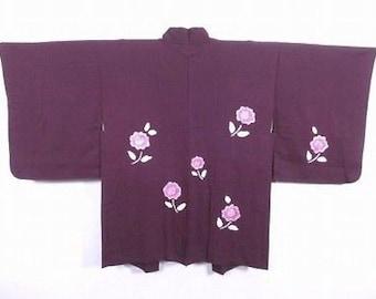 Vintage Japanese Purple Silk Blend Kimono Haori Jacket 'Tie-Dyed Flowers' S/M (UK 8-12)