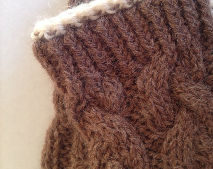 Ladies pure alpaca brown cable mittens with cream contrast detail by Willow Luxury ( one size)