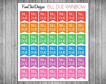 Mini Bill Due Flag Planner Stickers - Multiple Color Options