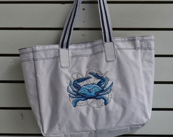 Bag embroidery, Machine embroidered crab on polyester shopping bag,Tote bag