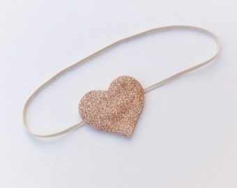 Baby / Toddler Skinny Headband with fine glitter heart