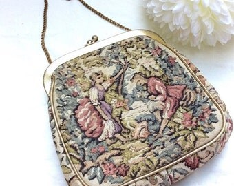 February Blahs Sale Tapestry evening bag with chain. J.R. Bags. Made in USA.