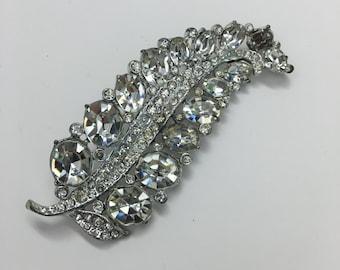 Vintage Jewelry- Silver and Rhinestone Leaf Pin