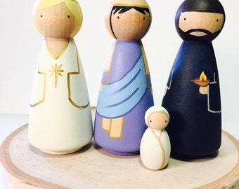 Christmas Nativity Wooden Peg Doll Set with Jesus, Mary, Joseph, and angel Gabriel