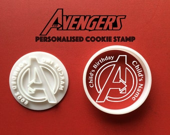 Personalised Avengers Cookie Cutter customised name cookie cutters Marvel Comics Avengers Superhero Symbol Super Hero Sign avengers party