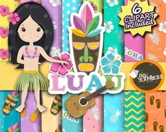"SALE Island Clipart & Digital Paper : ""Tropical Digital Paper"" - Hawaii Birthday Invitation, Luau Printable, Luau Paper, Hawaii paper"