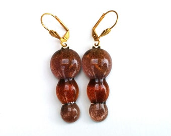 Fused dichroic glass drop earrings - Drops Collection - Brown, amber, caramel, copper (DEH107)