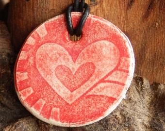 Red Heart Glazed Ceramic Necklace