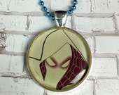 Spider-Gwen - UPCYCLED Comic Book and Resin Pendant Necklace * OOAK * Gwen Stacy *