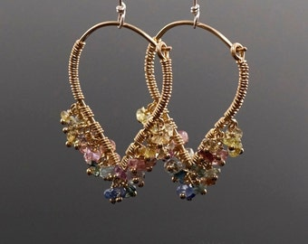 Rainbow Sapphire Wire Wrapped Lotus Hoop Earrings #E208