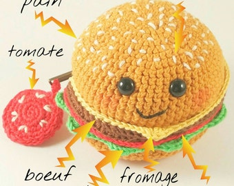 Purse Cheese Hamburger steak cheese salad tomato Amiguruni Kawaii Dinette Fastfood Handmade in France 100% crochet cotton vegan