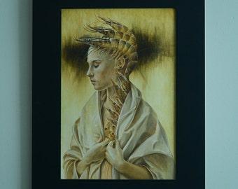 Original oil painting, oil on paper,
