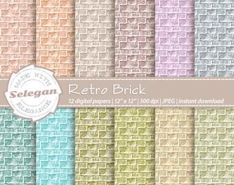 "retro decorations ""Retro Brick"" digital scrapbook paper 12x12 printable brick pattern wall texture retro background download soft color"