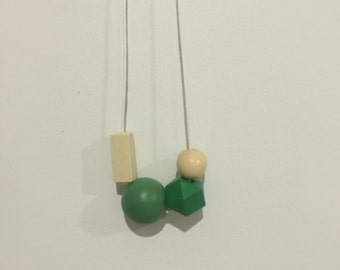 Wooden bead necklace // green  and natural // hand painted