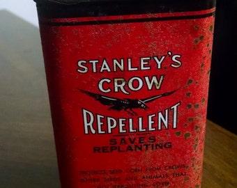 Vintage Stanley's Crow Repellent Tin