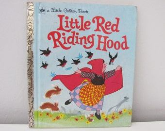 Vintage Little Red Riding Hood Child's Picture Story Book published by Little Golden Books in 1973 Retro Cute Kids Fairytale
