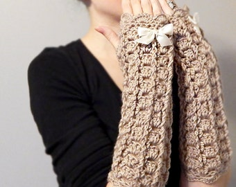 Lacy Crochet Fingerless Gloves with Bow