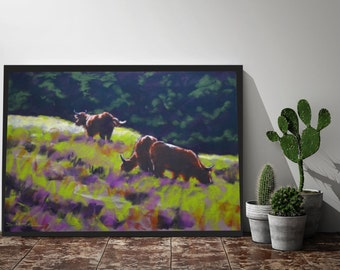 ORIGINAL Pastel Landscape Painting, Original Art, Impressionist, Animals, Field Fine Art Painting, Affordable Art Home Decor Living Room Art