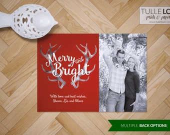 Antler Christmas Card Set | Merry Christmas Holiday Card Set, Merry and Bright Christmas Cards with Photos, Gold Leaf, Silver Leaf #15