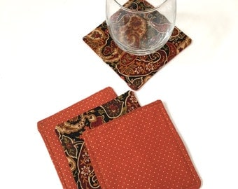 Fabric Coaster Set  - Set of four Fabric Coasters - Reversible Coaster Set - Fabric Coaster Set