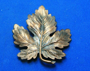 Vintage Copper Realistic Maple Leaf Pin Brooch