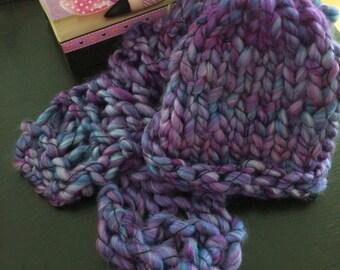 Violet Fluffy Hat and Scarf Set