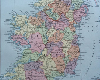 1920 IRELAND Original Vintage Map, 12 x 14.5 inches, historical wall decor, Stanford Atlas, Home Decor, Cartography, Geography