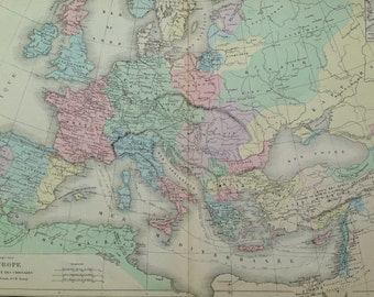 1866 Europe during the Crusades Era 1095-1270 AD -  large original antique map -  Cartography - Historical Map - Political History Map