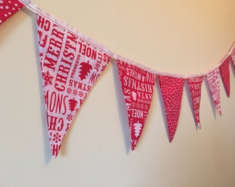 Christmas Bunting Red & White 11 Flags Double Sided