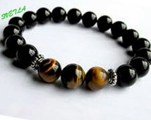 Onyx Bracelet, Tiger Eye, Tiger Bracelet Mens,Gemstone Jewelry,Black Onyx Bracelet,Mens Beaded Bracelet,Mens Onyx,Mens Stretch Bead Bracelet