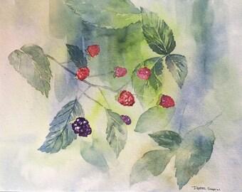 ORIGINAL Watercolor Painting, Watercolor blackberries, Home Decor, paintings, Watercolor Paintings, Watercolor Painting, watercolor berries,