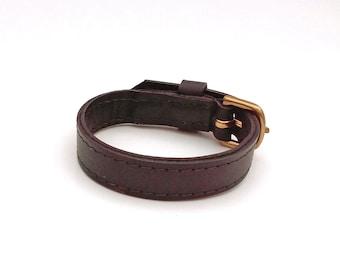 Black leather bracelet,  Upcycled black leather cuff