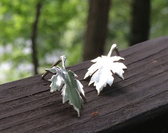 tree jewelry, maple earrings, leaf jewelry, tree stud earrings, maple leaf earrings, sterling silver sugar maple leaves by shademetals