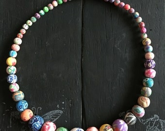Polymer Clay Bead Necklace - multicoloured