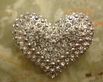 Vintage Large Diamante Crystal Heart Brooch