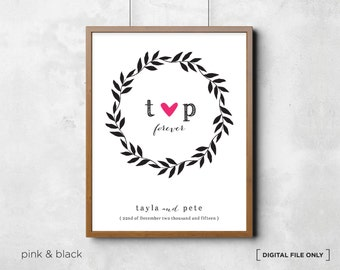 Wedding Gift. Love Wall Art. Wedding Wall Art Personalized Names and Date. Anniversary Engagement Custom Wall Poster