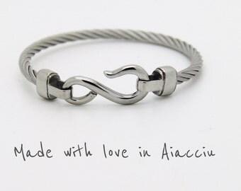 Bangle bracelet braided steel