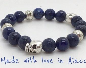 Bracelet skulls lapis lazuli beads