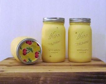 Yellow Canisters / Mason Jar Canister Set / Painted Yellow Mason Jars / Country Kitchen / Mason Jar Storage