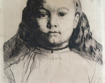 Alphonse Legros (1837-1911) Framed Drypoint Etching, 'Le Petite Marie' c.1870