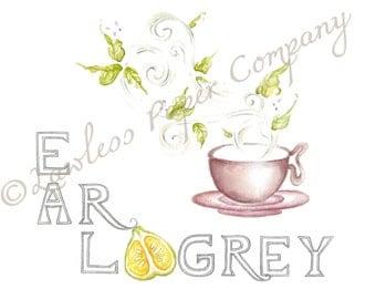 Earl Grey Tea Leaves Print, Watercolor Print, Blooming Tea, Cup of Tea Painting, Kitchen Wall Art, Tea Lover Art, Leaves Growing Print